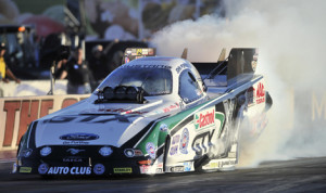 John Force lead the way during NHRA qualifying in Las Vegas on Saturday. (NHRA Photo)