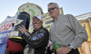 John Force captured his 16th NHRA Funny Car crown on Sunday in Las Vegas. (NHRA Photo)