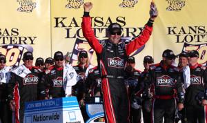 Matt Kenseth celebrates after winning Saturday's NASCAR Nationwide Series race at Kansas Speedway. (NASCAR Photo)