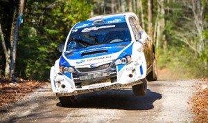 Subaru Rally Team USA's David Higgins and Craig Drew on their way to victory in the Lake Superior Performance Rally. (Alex Haugen Photo)