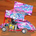 Karsyn Elledge, the granddaughter of Dale Earnhardt, showed of this pink scheme on her mini outlaw sprint car at Millbridge Speedway in Salisbury, N.C. (Ken MacIsaac Photo)