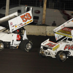 Christopher Bell (53) leads Brian Brown during Friday's Midwest Open Wheel Ass'n feature at Lincoln Speedway in Indiana. (Mark Funderburk Photo)