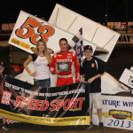 Christopher Bell in victory lane after winning Friday's Midwest Open Wheel Ass'n feature at Indiana's Lincoln Speedway. (Mark Funderburk Photo)