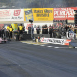 Antron Brown (left) lines up against Shawn Langdon (right) in the final round of the NHRA Top Fuel class ladder on Sunday at Pennsylvania's Maple Grove Raceway. (Dennis Bicksler Photo)