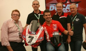 Carlos Checa at his retirement announcement on Saturday. (Ducati photo)