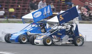Bethany Stoehr (5b) battles Joey Payne during Sunday's Northeastern Midget Ass'n race at Waterford Speedbowl (John DaDalt Photo)