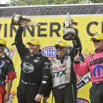 (From left) Matt Smith, Shawn Langdon, John Force and Jeg Coughlin Jr. celebrated NHRA victories on Sunday at Maple Grove Raceway in Pennsylvania. (Dennis Bicksler Photo)