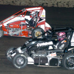 Bryan Clauson (39) and Zach Daum started on the front row for Friday's Gold Crown Midget Nationals feature at Tri-City Speedway. (Don Figler Photo)