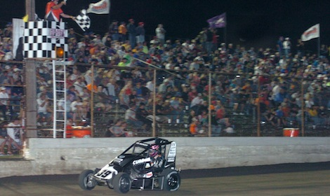 Bryan Clauson takes the checkered flag on the second night of the Gold Crown Nationals at Tri-City Speedway. (Don Figler photo)
