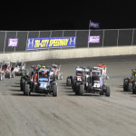 The Gold Crown Midget Nationals field prepares to go racing Sunday at Tri-City Speedway. (Don Figler Photo)