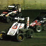 Jonathan Beason (36), Dave Darland (17) and Rico Abreu during Sunday's Gold Crown Midget Nationals finale at Tri-City Speedway. (Don Figler Photo)
