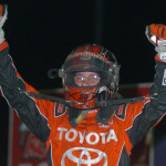Christopher Bell celebrates after winning the Gold Crown Midget Nationals Sunday at Tri-City Speedway. (Don Figler Photo)