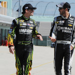Hendrick Motorsports drivers Jeff Gordon and Jimmie Johnson during a driver test at Homestead-Miami Speedway in Homestead, Florida.