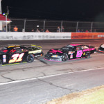 Kyle Grissom (31), John Hunter Nemechek (8) and Tyler Church during Saturday's PASS South race at Orange County Speedway in North Carolina. (Ken MacIsaac Photo)
