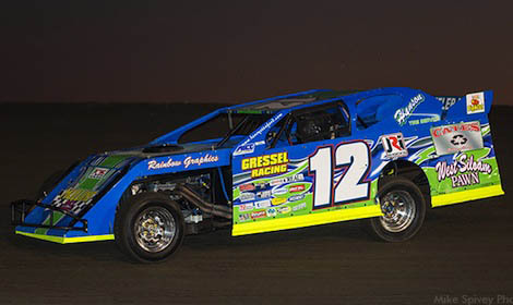 Jason Hughes won Friday night's USMTS modified feature at Salina Highbanks Speedway in Oklahoma. (USMTS photo)