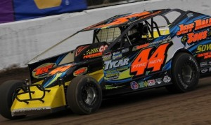 Stewart Friesen en route to the top qualifying time Thursday at the New York State Fairgrounds. (Dave Dalesandro photo)