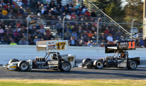 Ben Seitz (17) goes by Chris Perley on the final lap to steal the victory in the International Supermodified Ass'n event at Thompson (Conn.) Int'l Speedway. (Jim Feeney Photo)
