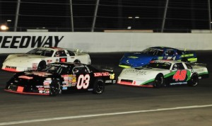 Late models in action last Saturday night at Irwindale Events Center. (Marv Keller photo)