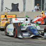 Simona de Silvestro leads a pack of cars during Saturday's IZOD IndyCar Series race in Houston. (IndyCar Photo)