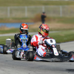 Sage Karam and Dusty Davis  at the  RoboPong 200 kart race at New Castle Motorsports Park competing for the Dan Wheldon Cup in the weekend event benefiting The Alzheimer's Association. (Photo: David Heithaus)
