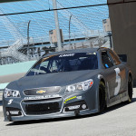 Kasey Kahne heads out onto the track during a driver test at Homestead-Miami Speedway in Homestead, Florida.