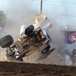 Kerry Madsen went for a wild ride during Saturday's World of Outlaws STP Sprint Car Series event at Fremont (Ohio) Speedway. He was uninjured. (Julia Johnson Photo)