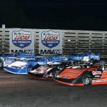 The field for the Lucas Oil Late Model Knoxville Nationals prepares to take the green flag Saturday at Knoxville Raceway. (Mike Ruefer Photo)