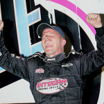 Darrell Lanigan celebrates after winning Saturday's Lucas Oil Late Model Knoxville Nationals. (Mike Ruefer Photo)