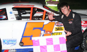 Kyle Dudley picked up a pair of late-model victories at Franklin County Speedway on Saturday night. (FCS Photo)