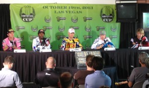 Eli Tomac, James Stewart, Ryan Dungey, Ryan Villopoto and Justin Barcia address the mdia during Thursday's Monster Energy Cup pre-race press conference in Las Vegas. (Ralph Sheheen Photo)
