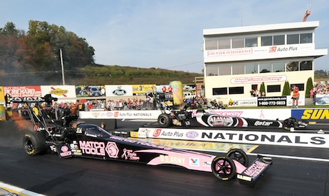 Shawn Langdon (far lane) defeated Antron Brown in the final round to win Sunday's NHRA Mello Yello Drag Racing Series event at Maple Grove Raceway. (Harry Cella photo)