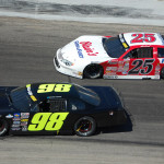 ARCA Racing Series regular Mason Mingus (98) and Ross Kenseth race for the lead early in the 2013 ARCA/CRA Super Series Winchester 400 at Winchester Speedway in Indiana. (Stan Stan Kalwasinski  Photo)