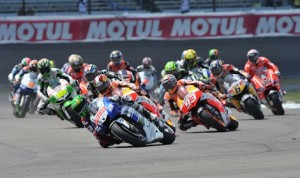 The start of the 2013 MotoGP race at Indianapolis Motor Speedway. (David E. Heithaus photo)
