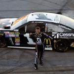 Jamie McMurray celebrates after winning Sunday's NASCAR Sprint Cup Series race at Talladega (Ala.) Superspeedway. (NASCAR Photo)