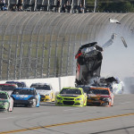 Austin Dillon flies through the air after contact from Casey Mears on the last lap of Sunday's NASCAR Sprint Cup Series race at Talladega (Ala.) Superspeedway. (NASCAR Photo)