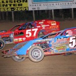 Paul Bumgardner (54) and Eric Varner battle for position during the modified feature at Lincoln Park Speedway in Indiana. (LPS photo)