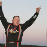 Rowan Pennink celebrates in victory lane after winning Sunday's NASCAR Whelen Modified Tour event at Thompson (Conn.) Int'l Speedway. (Dick Ayers Photo)