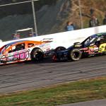 Ryan Preece (16) battles eventual race winner Rowan Pennink during Sunday's NASCAR Whelen Modified Tour race at Thompson (Conn.) Int'l Speedway. (Dick Ayers Photo)