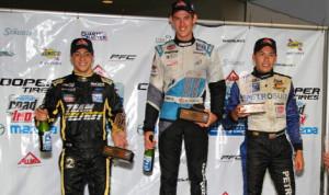 Matthew Brabham (center) scored his 13th Pro Mazda Championship victory of 2013 on Sunday in Houston. (Pro Mazda Photo)