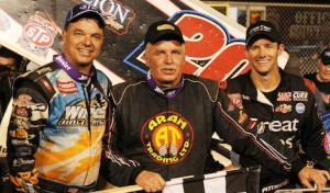 Fred Rahmer (center) shares the podium with Daryn Pittman (right) and Lance Dewease. (Julia Johnson photo)