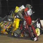 Joey Saldana and Craig Mintz ended up in a pile after a crash Saturday at Fremont (Ohio) Speedway. (Frank Smith Photo)