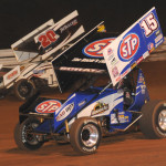 Donny Schatz (15) works under Fred Rahmer during Friday's World of Outlaws STP Sprint Car Series event at Williams Grove Speedway. (Julia Johnson Photo)