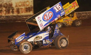 Donny Schatz (15) seen here at Williams Grove Speedway, won Saturday's 50-lap main event. (Julia Johnson Photo)
