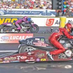 Matt Smith (near lane) lines up against Eddie Krawiec in the finals of the NHRA Pro Stock Motorcycle class ladder on Sunday at Maple Grove Raceway in Pennsylvania. (Harry Cella Photo)