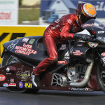 Matt Smith drove to victory in the NHRA Pro Stock Motorcycle class on Sunday at Maple Grove Raceway. (Dennis Bicksler Photo)