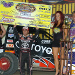 Rico Abreu celebrates his victory in Thursday's Gold Crown Midget Nationals feature at Tri-City Speedway. (Don Figler Photo)