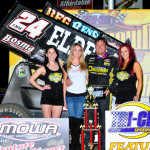 Terry McCarl stands in victory lane after winning Friday's Midwest Open Wheel Ass'n feature at Tri-State Speedway. (R.J. Brown Photo)