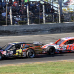Todd Szegedy (2) and Ryan Preece battle during Sunday's NASCAR Whelen Modified Tour race at Stafford Motor Speedway. (Dick Ayers Photo)
