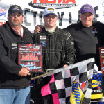 John Zych Jr. celebrates after winning the NEMA Midget feature at Thompson Int'l Speedway on Sunday. (Norm Marx Photo)