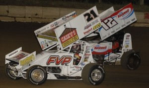 Brian Brown (21), pictured during a 2013 MOWA sprint car feature at Jacksonville (Ill.) Speedway, won at Knoxville, Iowa Saturday night. (Mark Funderburk photo)